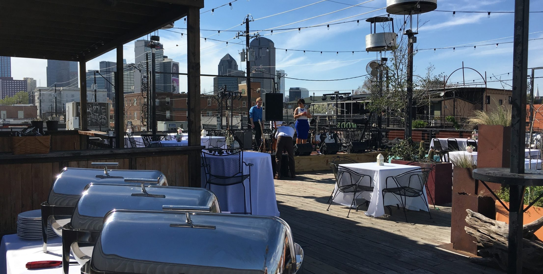 Wedding Reception on top of a club in Deep Ellum, menu from Pecan Lodge